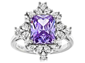 Pre-Owned Purple And White Cubic Zirconia Rhodium Over Sterling Silver Ring 6.94ctw
