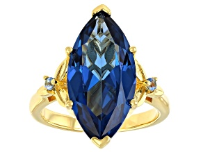 Pre-Owned Lab Created Blue Spinel 18K Yellow Gold Over Sterling Silver Ring 6.64ctw