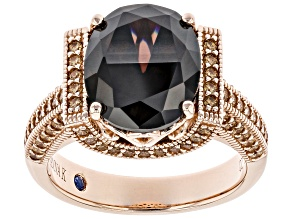 Pre-Owned Mocha and Champagne Cubic Zirconia 18K Rose Gold Over Sterling Silver Ring