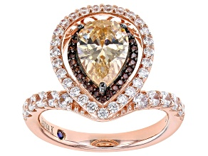 Pre-Owned Champagne, White And Mocha Cubic Zirconia 18k Rose Gold Over Sterling Silver Ring. 4.71ctw