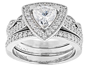 Pre-Owned White Cubic Zirconia Rhodium Over Sterling Silver Ring 2.51ctw (1.26ctw DEW)