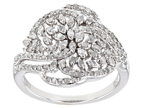 Pre-Owned White Diamond Rhodium Over Sterling Silver Cluster Ring 0.55ctw