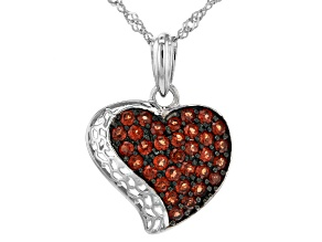 Pre-Owned Red Garnet Rhodium Over Silver Heart Pendant with Chain 1.40ctw