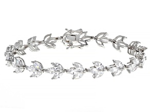 Pre-Owned White Cubic Zirconia Rhodium Over Sterling Silver Bracelet 21.73ctw