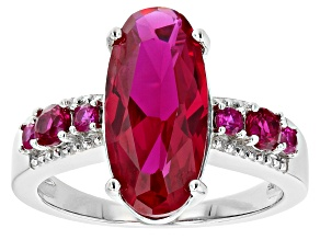 Pre-Owned Red Lab Created Ruby Rhodium Over Sterling Silver Ring 3.77ctw