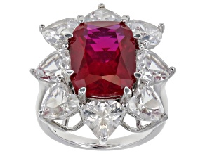 Pre-Owned Red lab ruby rhodium over sterling silver ring 11.51ctw