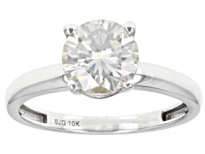 Pre-Owned Moissanite 10K white gold solitaire ring 1.50ct DEW