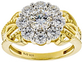 Pre-Owned Moissanite 14k Yellow Gold Over Silver Ring 2.08ctw DEW.