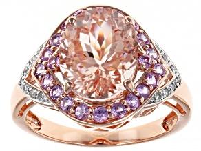 Pre-Owned Peach Cor De Rosa Morganite 14k Rose Gold Ring 3.69ctw