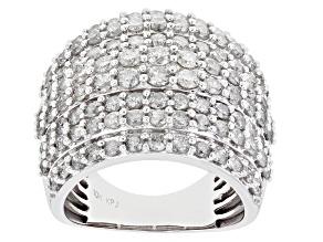 Pre-Owned White Diamond 10K White Gold Multi-Row Cocktail Ring 3.50ctw