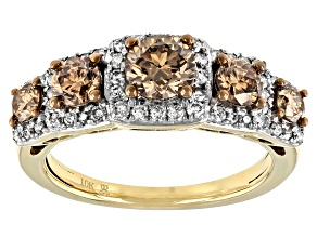 Pre-Owned Champagne And White Diamond 10k Yellow Gold 5-Stone Halo Ring 1.50ctw