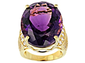 Pre-Owned Purple Amethyst 18K Yellow Gold Over Sterling Silver Ring 26.00ctw