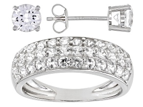 Pre-Owned White Lab Created Sapphire Rhodium Over Sterling Silver Ring And Earring Set 1.98ctw