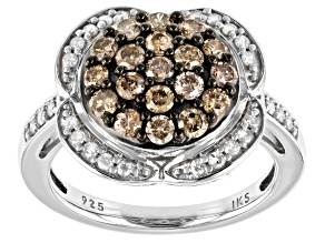 Pre-Owned Champagne And White Diamond Rhodium Over Sterling Silver Cluster Ring 1.00ctw
