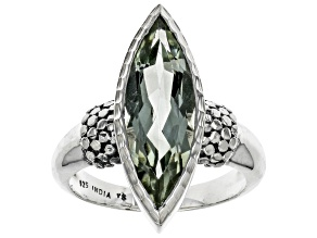 Pre-Owned Green Prasiolite Sterling Silver Ring 3.50ctw