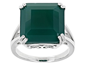 Pre-Owned Green Octagon Onyx Rhodium Over Sterling Silver Ring 9.48ct