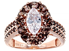 Pre-Owned Mocha And White Cubic Zirconia 18K Rose Gold Over Sterling Silver Ring 4.23ctw
