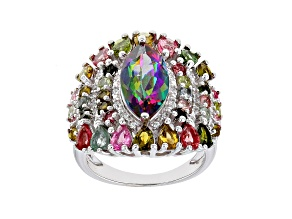 Pre-Owned Green Mystic Topaz Rhodium Over Sterling Silver Ring 6.65ctw