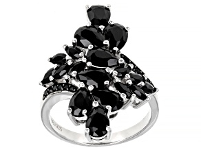 Pre-Owned Black Spinel Rhodium Over Sterling Silver Ring 4.67ctw