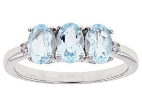 Pre-Owned Sky Blue Topaz Rhodium Over Sterling Silver  Ring 1.43ctw