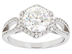 Pre-Owned Fabulite Strontium Titanate and white zircon rhodium over sterling silver ring 2.94ctw