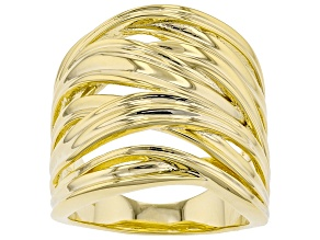 Pre-Owned 18K Yellow Gold Over Sterling Silver Crossover Dome Ring