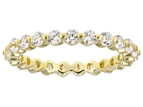 Pre-Owned White Cubic Zirconia 18K Yellow Gold Over Sterling Silver Eternity Band Ring 1.79ctw