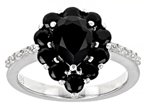Pre-Owned Black spinel rhodium over sterling silver ring. 2.35ctw