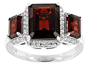 Pre-Owned Red garnet rhodium over silver ring 5.18ctw