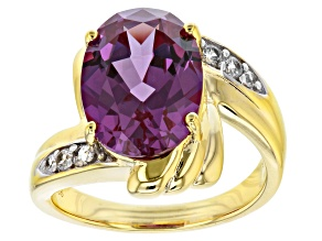 Pre-Owned Lab created color change sapphire 18k yellow gold over silver ring 6.61ctw