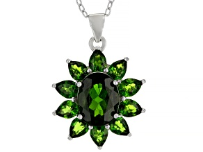 Pre-Owned Green chrome diopside rhodium over sterling silver pendant with chain 3.15ctw
