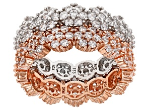 Pre-Owned White Cubic Zirconia 18k Rose Gold Over Silver And Rhodium Over Sterling Rings 3.40ctw