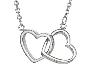 Pre-Owned Rhodium Over Silver Heart Necklace 18 inch