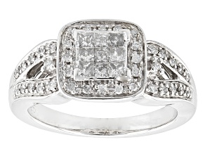 Pre-Owned Diamond Rhodium Over Sterling Silver Ring .40ctw