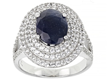 Picture of Pre-Owned Blue Sapphire Rhodium Over Sterling Silver Ring 2.75ctw