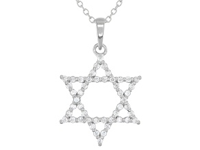 Pre-Owned White Cubic Zirconia Rhodium Over Sterling Silver Star of David Pendant With Chain 0.75ctw