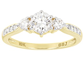 Pre-Owned Moissanite 10k yellow gold ring .88ctw DEW.