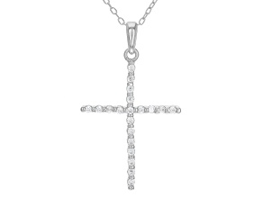 Pre-Owned White Cubic Zirconia Rhodium Over Sterling Silver Cross Pendant With Chain 0.31ctw