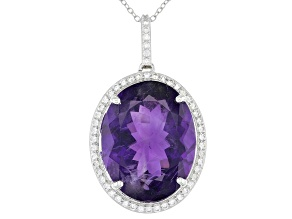 Pre-Owned Purple Amethyst Rhodium Over Sterling Silver Pendant with Chain 24.00ctw