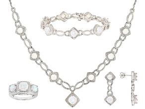 Pre-Owned White Square Cushion Lab Opal Rhodium Over Brass Jewelry Set 6.61ctw