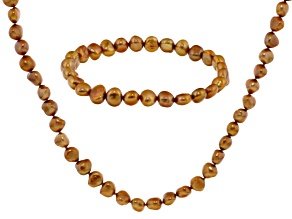 Pre-Owned Copper Cultured Freshwater Pearl Necklace And Bracelet Set 7-8mm