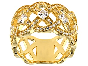 Pre-Owned White Cubic Zirconia 18K Yellow Gold Over Sterling Silver Band Ring 2.17ctw