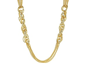 Pre-Owned MODA AL MOSSIMO™ 18K Yellow Gold Over Bronze Multi-Strand Chain with Side Link Stations 28