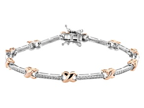 Pre-Owned White Cubic Zirconia Rhodium And 18K Rose Gold Over Sterling Silver Bracelet 0.90ctw