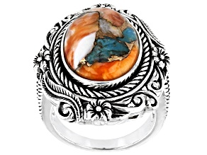 Pre-Owned Blended Turquoise And Shell Rhodium Over Silver Ring