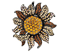 Pre-Owned Gunmteal Tone Multicolor Sunflower Pin