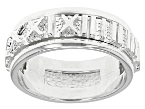 Pre-Owned Sterling Silver Spinner Numerals Ring