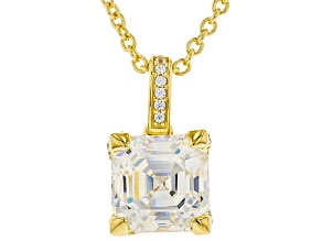 Pre-Owned White Fabulite Strontium And White Zircon 18k Yellow Gold Over Silver Pendant 4.21ctw