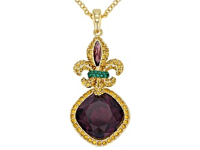 Pre-Owned Multicolor Crystal Gold Tone Fleur de lis  Pendant With Chain
