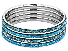 Pre-Owned Turquoise Matrix Stainless Steel 4 Bangle Bracelet Set